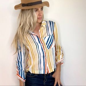 Striped Button Down Roll Up Tab Sleeve Yellow Blue